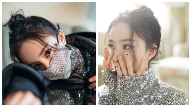 杨幂出席活动戴钻石口罩十分耀眼 银色闪光亮片闪闪发光